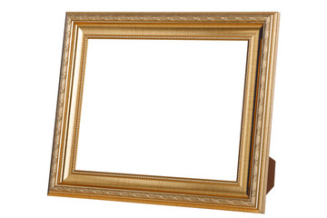 Gold photo frame isolated on white background with clipping path