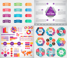 Vector set of infographics, charts, paper stickers