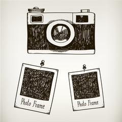 Vector hand drawn illustration with retro vintage camera and photo polaroid frames