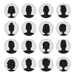 vector set of user profile illustrations, icons. Man and woman.