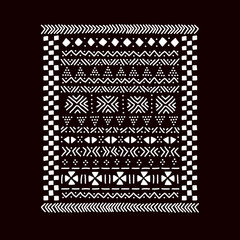 Black and white traditional african mudcloth fabric print