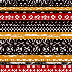 Black red yellow and white traditional african mudcloth fabric