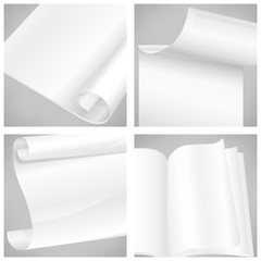 Set of different white sheet papers, illustration