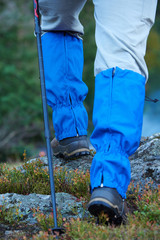 hiking man with trekking boots