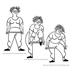 Exercising old woman. Pilates poses set