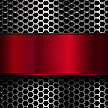 geometric pattern of hexagons with red metallic banner