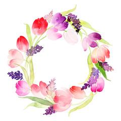 Wreath of tulips watercolor. Wedding, Mother's Day, birthday, Ea