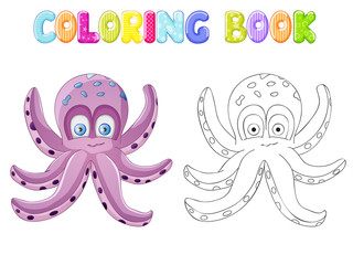 Coloring cute octopus