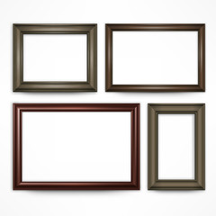 Picture wooden frames isolated on white, illustration