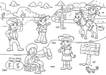 Illustration of cowboy Wild West child cartoon for Coloring.