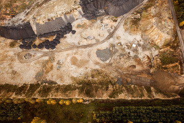 autumn, Aerial view of sand and rock mine