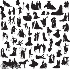 set of silhouettes of wedding couples in different situations