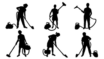 people and vacuum cleaner silhouettes
