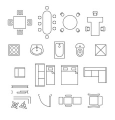Furniture linear vector symbols. Floor plan icons set