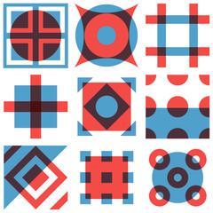 Wall Mural - Geometric shapes patterns set