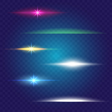 Linear glow light effect.  Vector brushes set