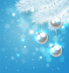 Blue Christmas background with fir