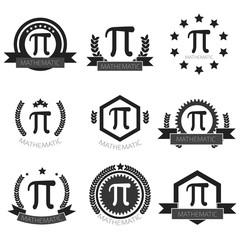 Mathematic Pi logo set. Mathematic Pi icons set