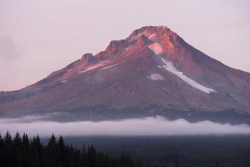 Wall Mural - Mt Hood Ski Resort Low Clouds Trillium Lake Oregon Territory