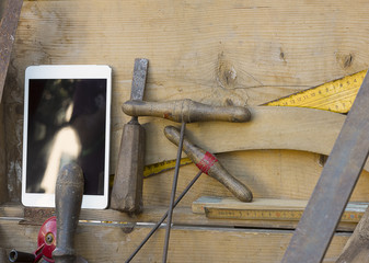 Tablet and carpenter's tools