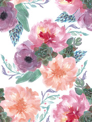 Seamless pattern with Beautiful Peony flowers and Succulent, Watercolor painting