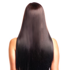 Back view of a woman with long straight black hair.