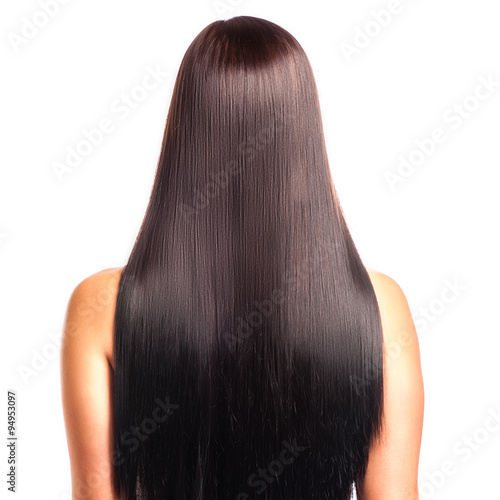 Back View Of A Woman With Long Straight Black Hair Stock Photo And