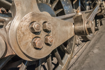 Wall Mural - vintage steam locomotive engineering closeup