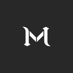 Letter M logo, medieval style wedding invitation mockup, vintage calligraphic design element for business card