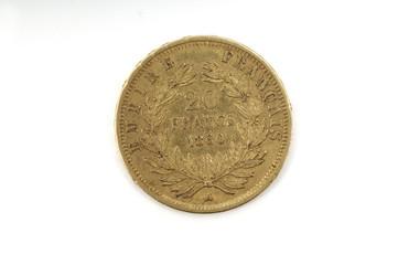 back of a gold coin twenty francs