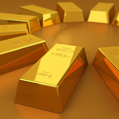 gold bars on the golden background