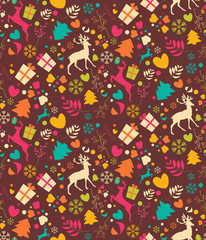 Seamless patterns with Christmas trees, reindeers, gift boxes an