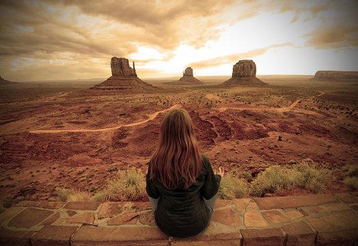 Meditation in the desert in Monument Valley