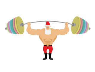 Santa Claus and barbell. Bench press barbell above his head. Exe
