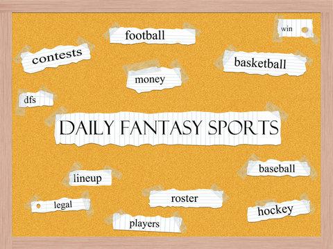 Daily Fantasy Sports Corkboard Word Concept