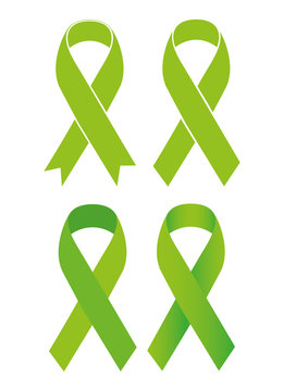Symbol of Scoliosis. Green ribbon