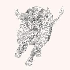 Patterned bull zentangle style. Good for T-shirt, bag or whatever print. EPS 10 vector illustration