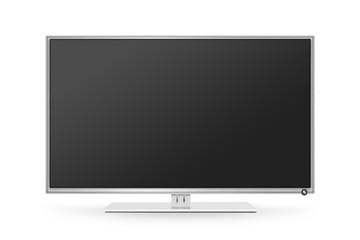 TV flat screen lcd, plasma realistic illustration. White HD monitor mock up. Modern multimedia panel black screen mockup. Good way show business presentation on flat display mock-up. Tv set stand.