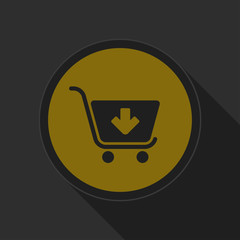 dark gray and yellow icon - shopping cart add