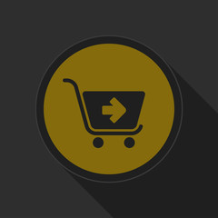 dark gray and yellow icon - shopping cart next