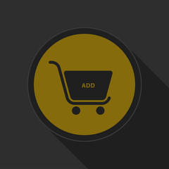 dark gray and yellow icon, shopping cart add