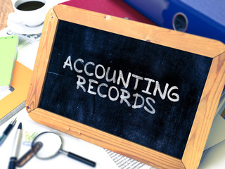 Accounting Records - Chalkboard with Hand Drawn Text.