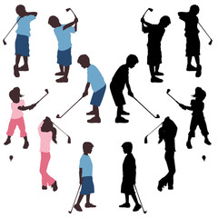 Kids golf silhouettes