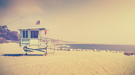 Old film retro stylized lifeguard tower, Santa Monica, USA
