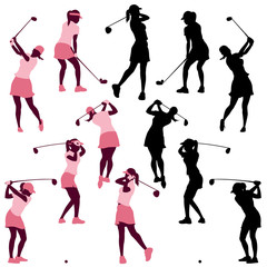 female golf poses in silhouettes
