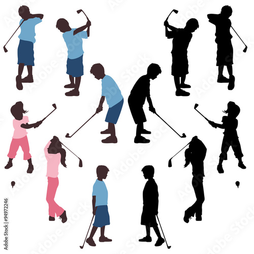 Kids Golf Silhouettes Stock Image And Royalty Free Vector Files On
