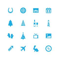new year icons universal set