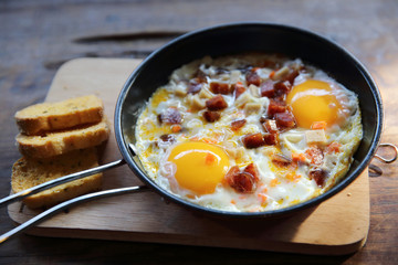 fried egg stuff with hot pan