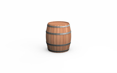 Wooden barrel isolated on white background. 3d illustration