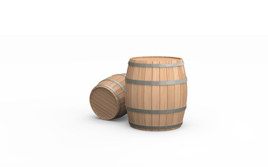 Two wooden barrels isolated on the white background. 3d illustration